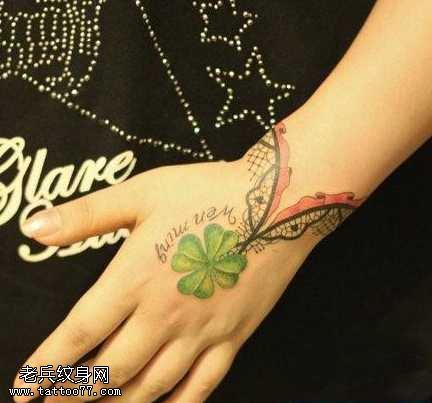 手腕蕾丝四叶草手链纹身图案