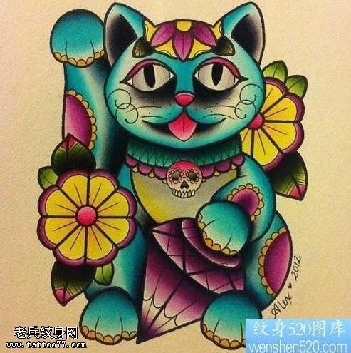 手稿彩色招财猫纹身图案