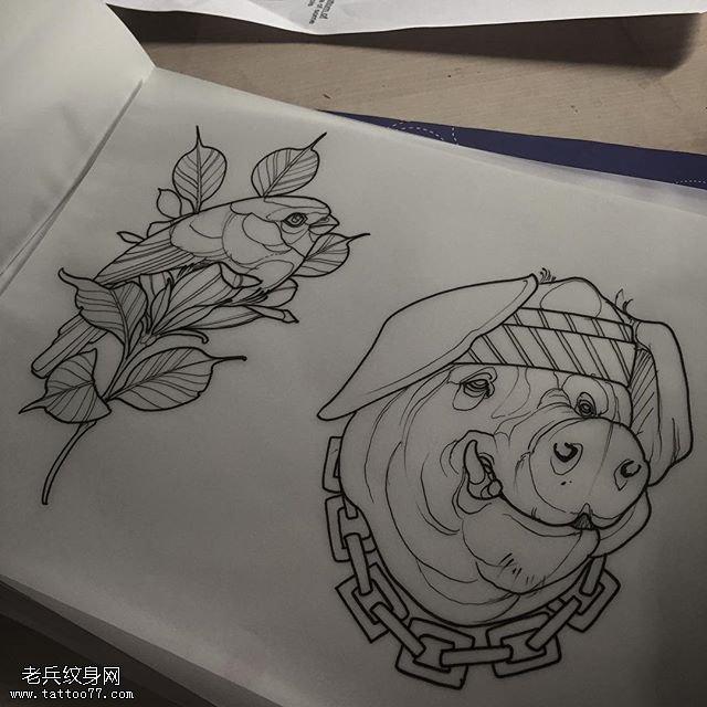 手稿线条花卉小猪纹身图案