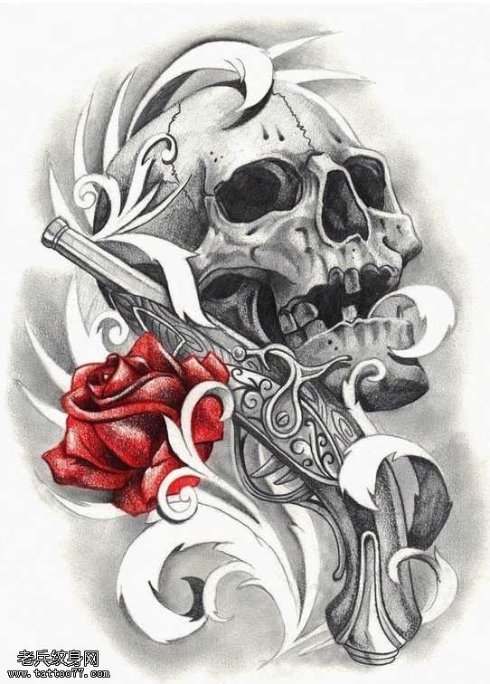 骷髅头手枪玫瑰纹身图案