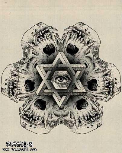 手稿六芒星眼睛纹身图案