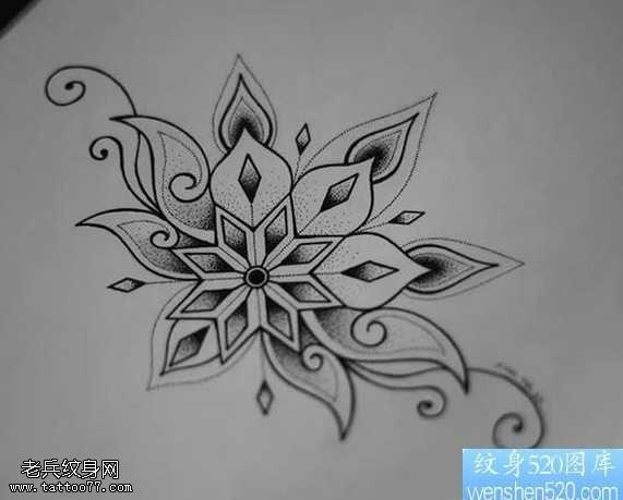 手稿雪花纹身图案