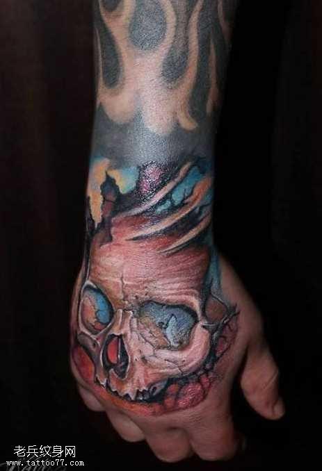 手臂骷髏頭紋身圖案