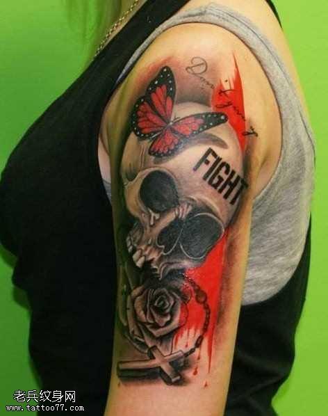 手臂歐美骷髏頭紋身圖案