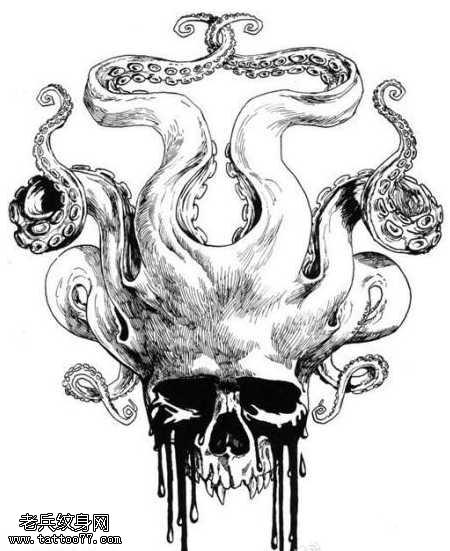 手稿章魚骷髏頭紋身圖案