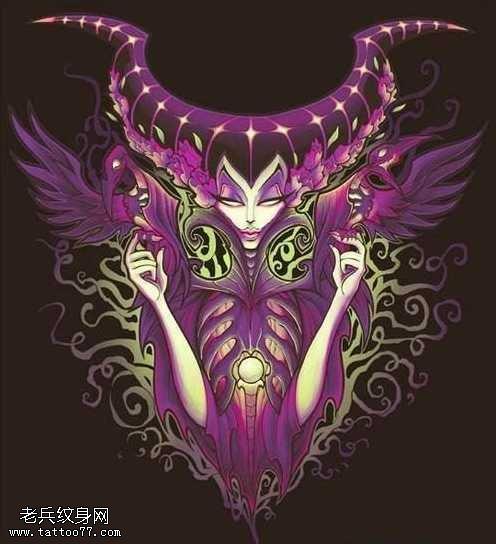 手稿恶魔女王纹身图案