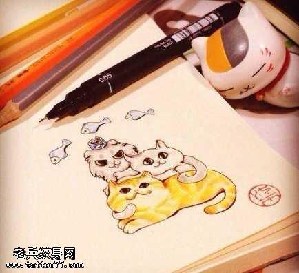 手稿彩色猫咪纹身图案