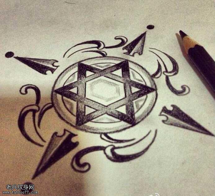 手稿六芒星纹身图案