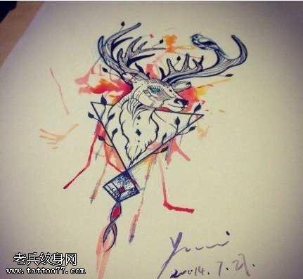 手稿彩色羚羊纹身图案
