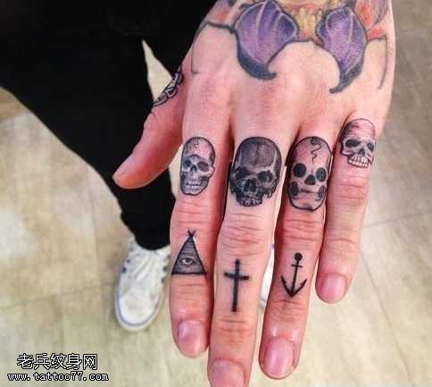 手指個性骷髏頭紋身圖案