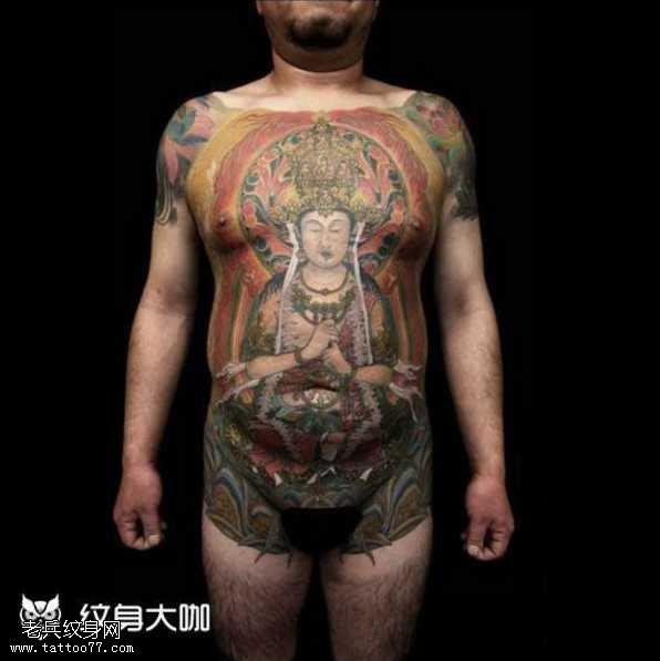 腹部观音纹身图案
