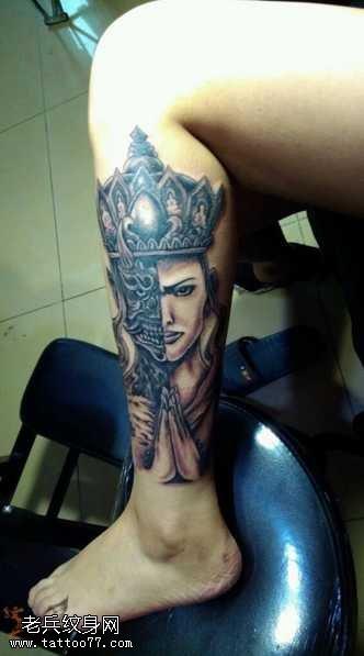 腿部观音纹身图案