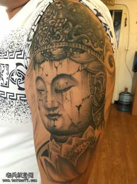 胳膊残佛纹身图案
