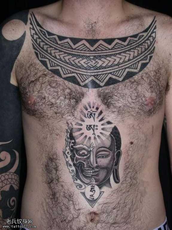 胸部佛祖化骷髅纹身图案
