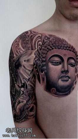不一样半胛象佛祖纹身图案