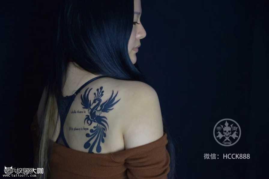 肩部凤凰图腾纹身图案