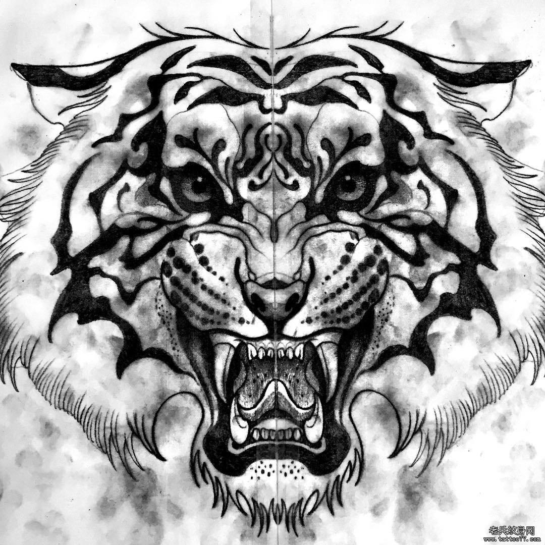 老虎头像纹身图案手稿