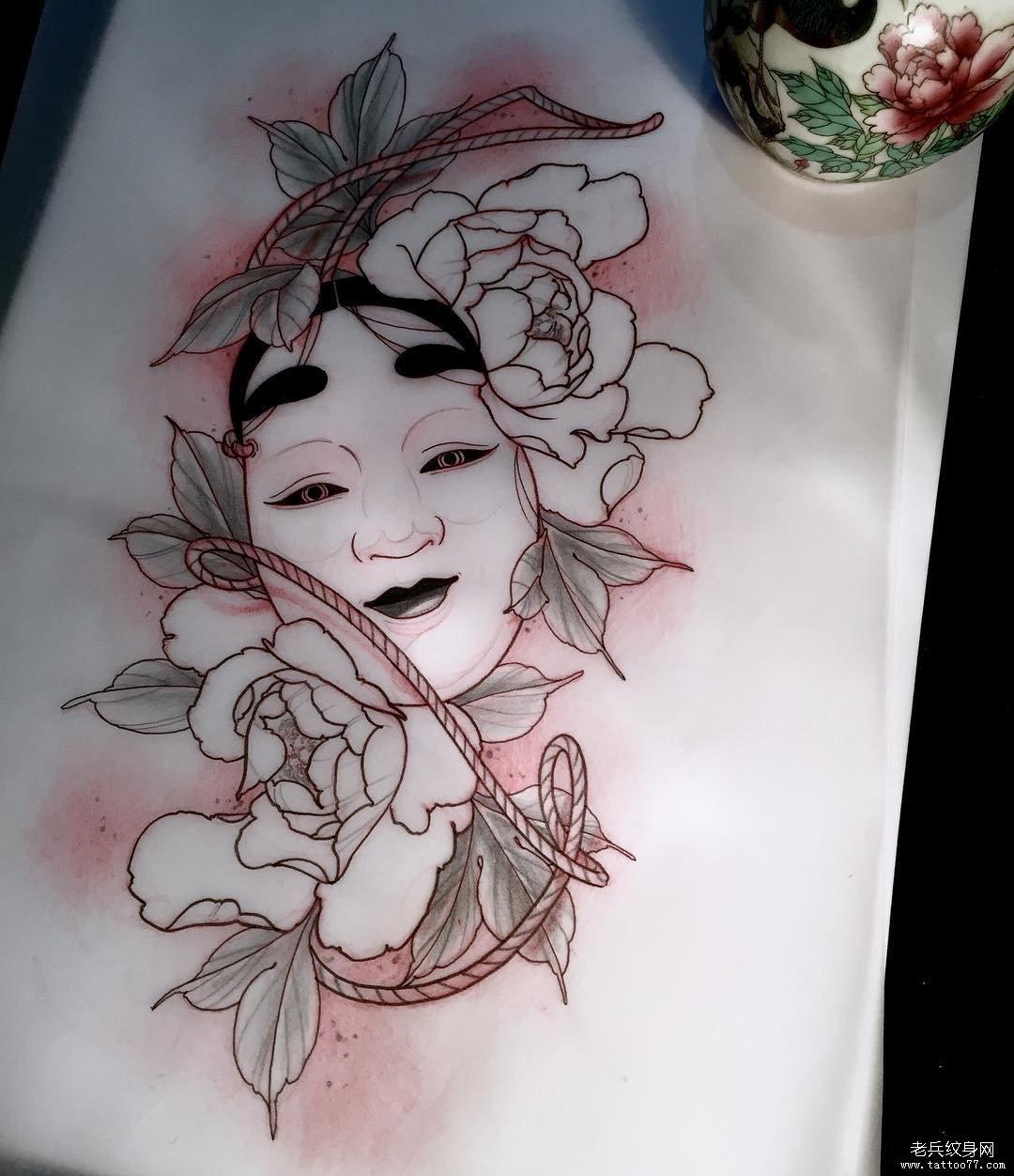 日式传统头像牡丹花纹身图案手稿
