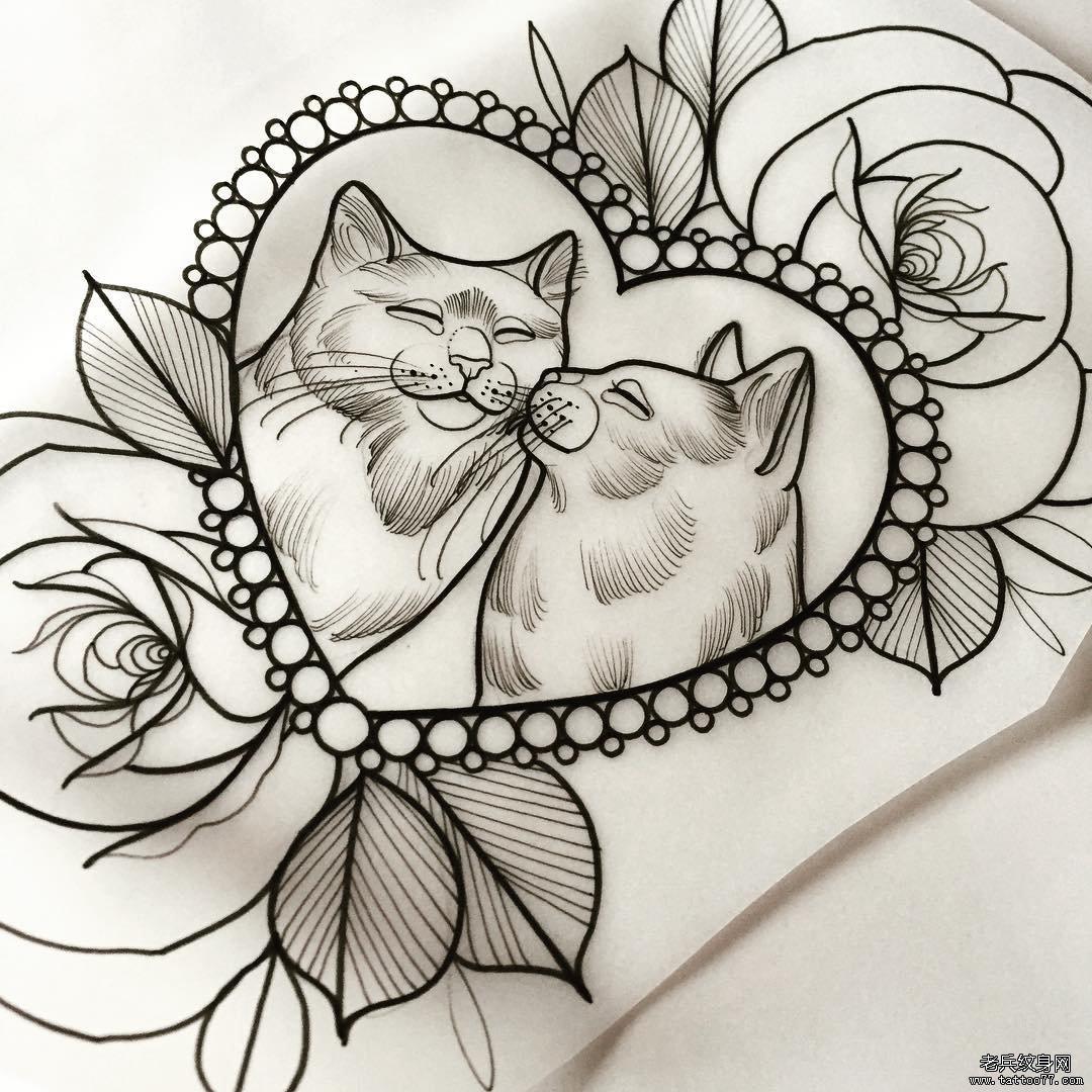 new school猫爱心玫瑰纹身图案手稿