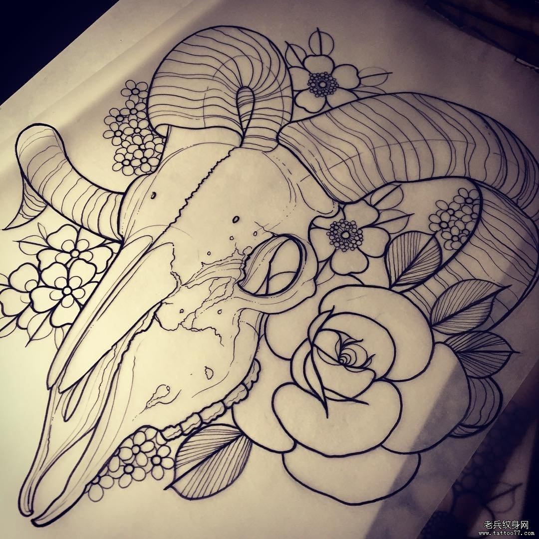 new school羚羊骷髅玫瑰纹身图案手稿