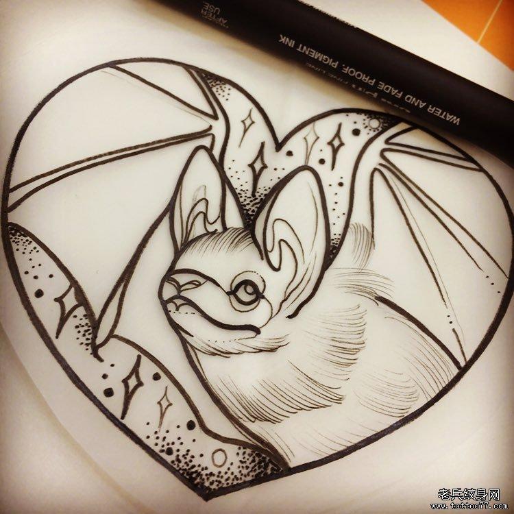 new school小清新蝙蝠爱心纹身图案手稿