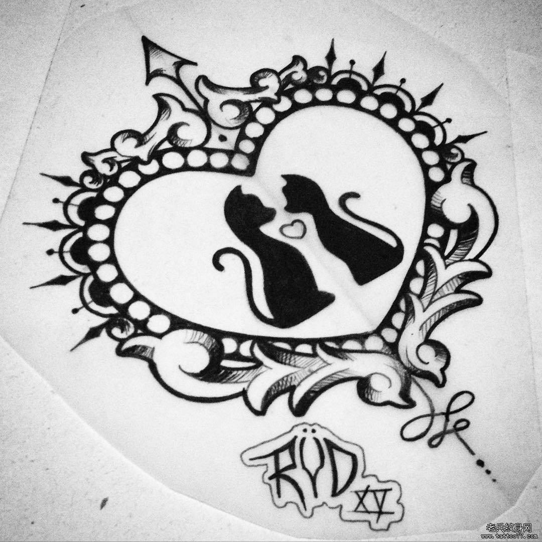 图腾爱心小清新猫纹身图案手稿