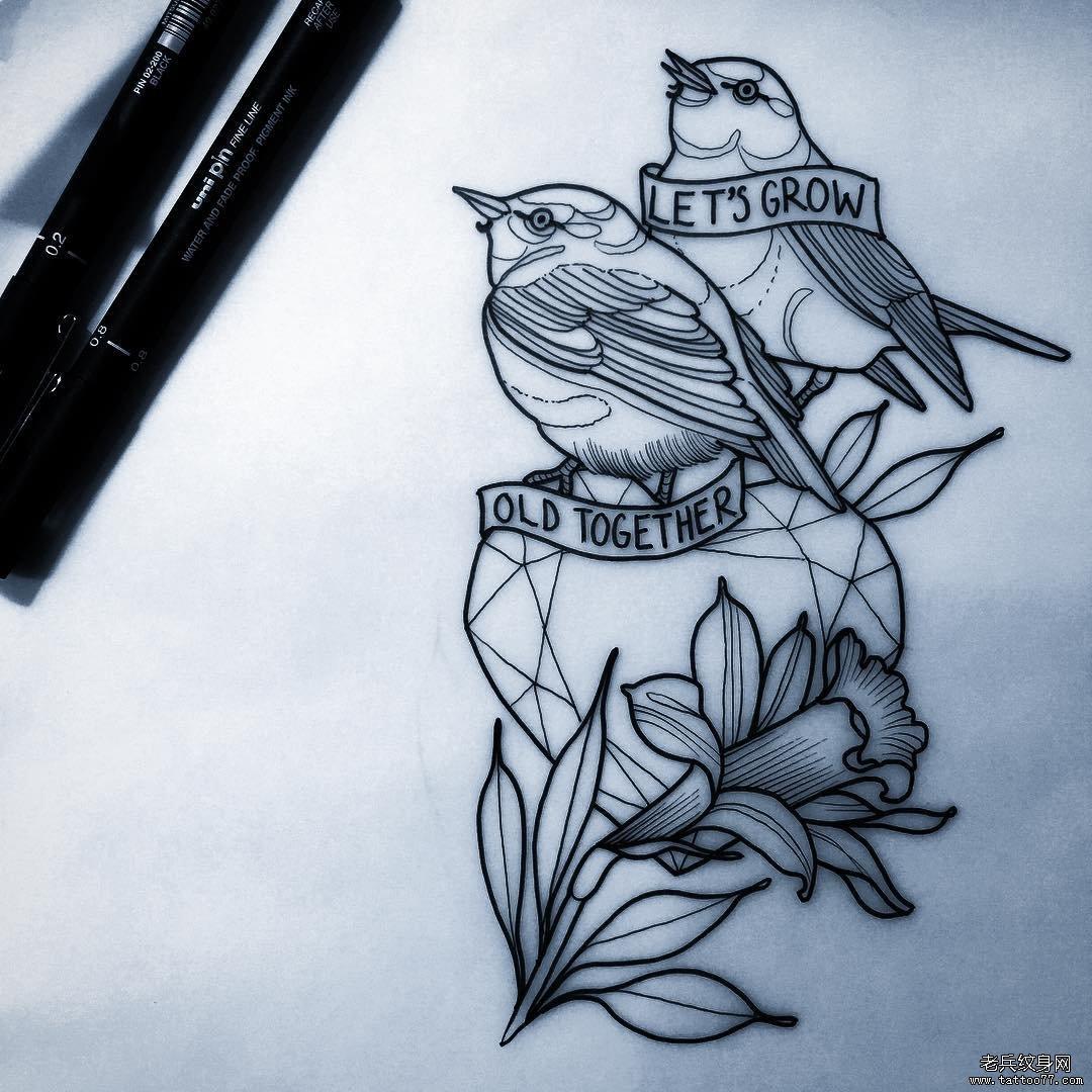 school 爱心英文字母鸟纹身图案手稿