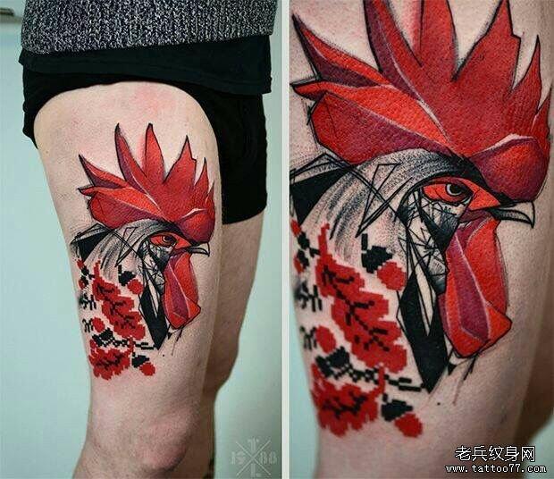 大腿欧美公鸡彩绘纹身图案