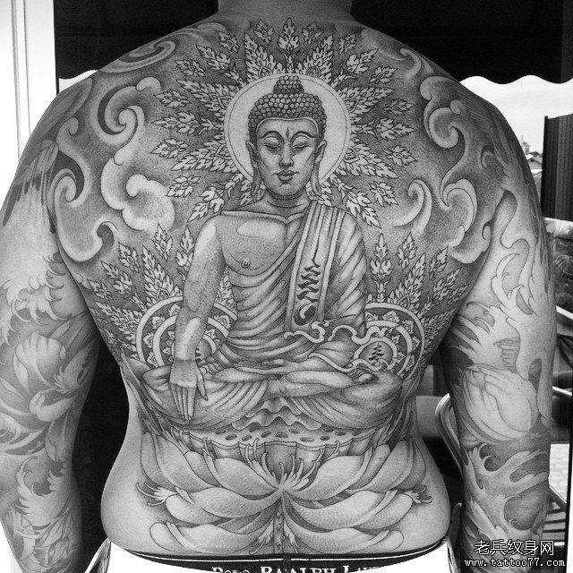 全甲佛莲花传统纹身图案