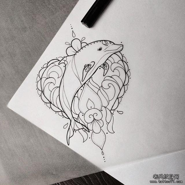 海豚小清新线条爱心纹身图案手稿