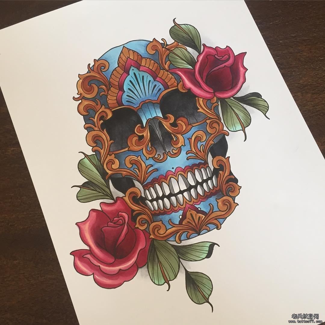 歐美school嘎巴拉玫瑰紋身圖案手稿