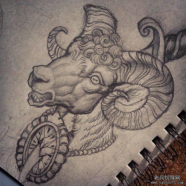 欧美羚羊头钟表纹身图案手稿