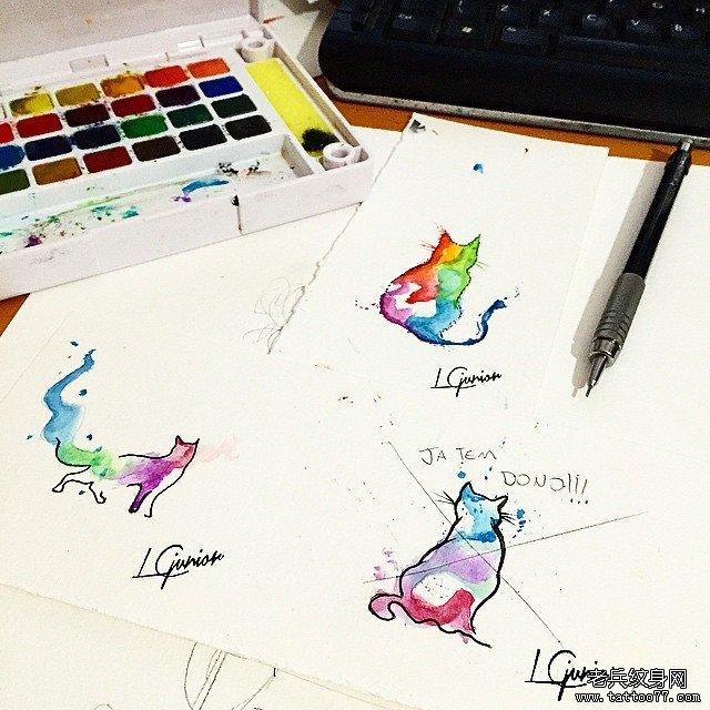 欧美泼墨小清新猫咪纹身图案手稿