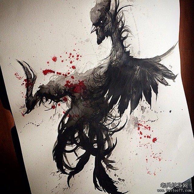 欧美school泼墨公鸡纹身图案手稿