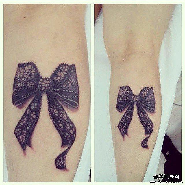 小腿蕾丝蝴蝶结欧美纹身图案