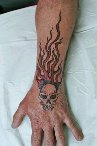 骷髅和火焰手背纹身图案