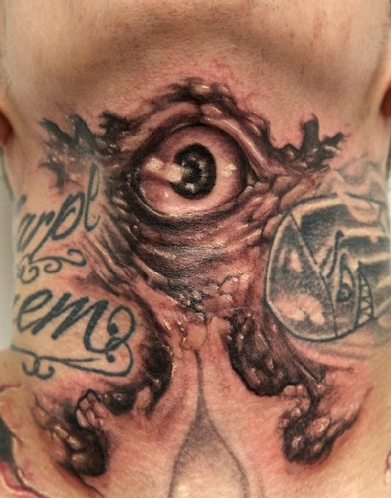 颈部毛骨悚然的神秘怪物眼睛纹身图案