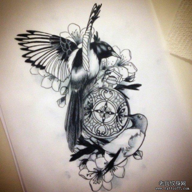 欧美鸟时钟花蕊黑灰纹身图案手稿