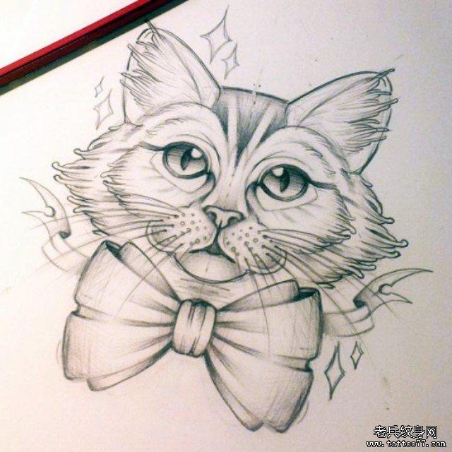 欧美蝴蝶结猫纹身图案手稿