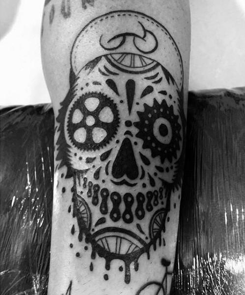 特殊設計的黑白墨西哥風格骷髏紋身圖案