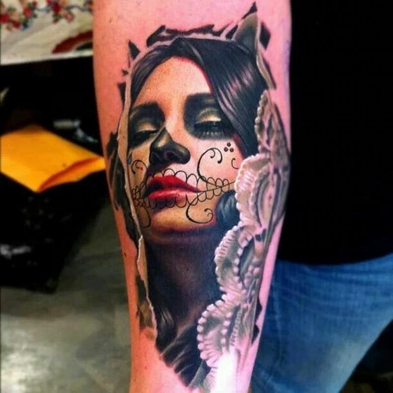 美丽的死亡女郎纹身图案