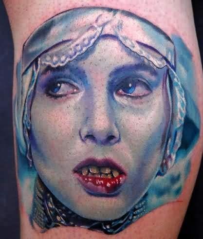 好看的水彩吸血鬼女孩纹身图案