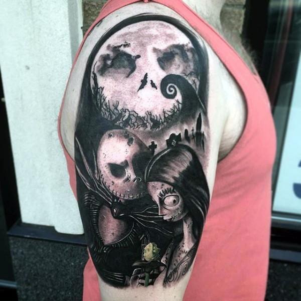 黑灰风格恐怖卡通僵尸大臂纹身图案