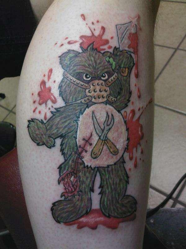 邪惡戰士泰迪熊彩色紋身圖案