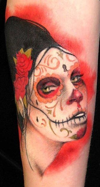 红色死亡女郎肖像纹身图案