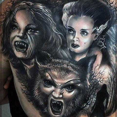 恐怖电影风格黑白各种怪物背部纹身图案