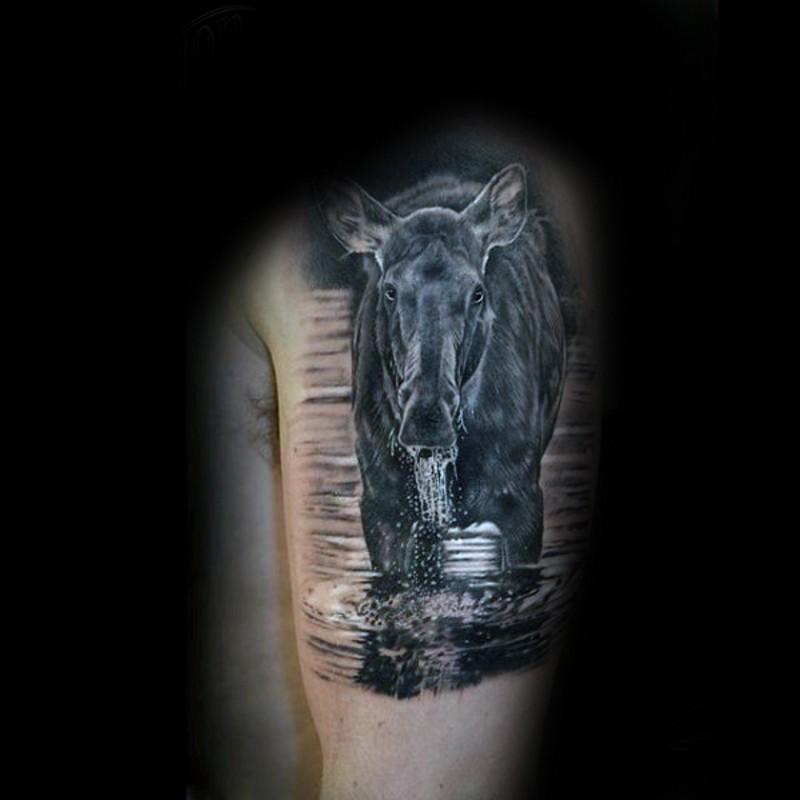 大臂非常逼真的野马饮水纹身图案