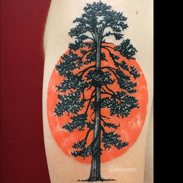 手臂old school黑色孤獨大樹與橙色太陽紋身圖案