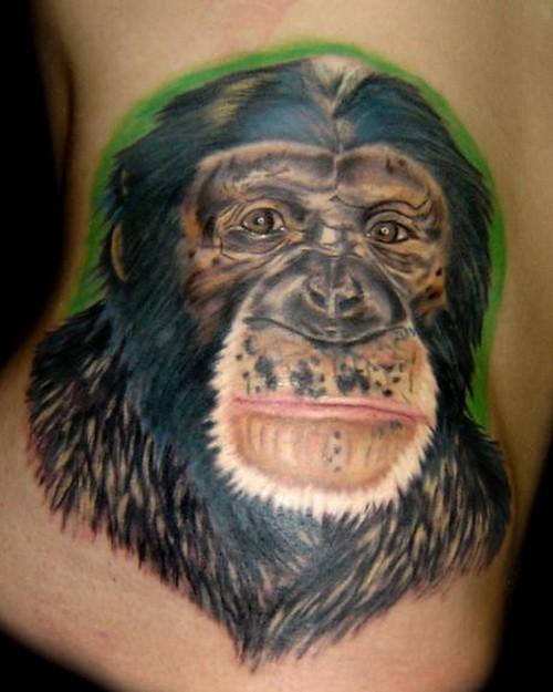 側肋彩色黑的猩猩肖像紋身圖案
