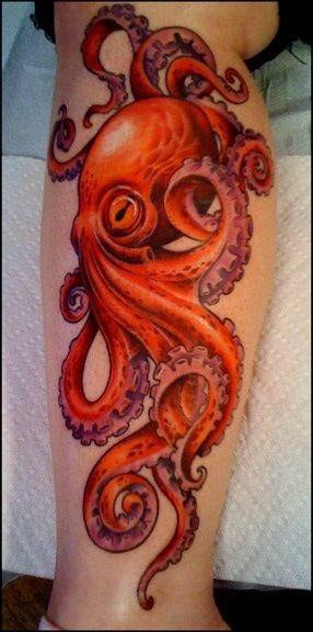 小腿美丽的写实红色章鱼纹身图案